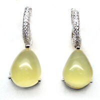NATURAL 10 X 12 mm. YELLOW OPAL & WHITE CZ 925 STERLING SILVER EARRINGS