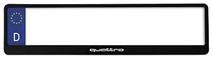 2 x TOP BLACK NUMBER PLATE SURROUND HOLDER FRAME - FOR AUDI QUATTRO