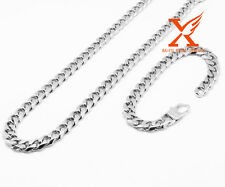 """24""""Men Stainless Steel 10mm Silver Miami Cuban Curb Chain Necklace Bracelet Sets"""