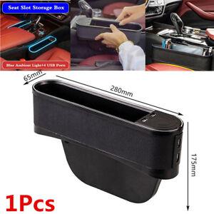 1Pcs Car Seat Left Side Crevice Storage Box Organizer Pocket  4USB+Blue light