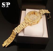 Women Luxury 14k Gold Finish Iced Out Watch Bracelet Lab Diamond Roman Numeral