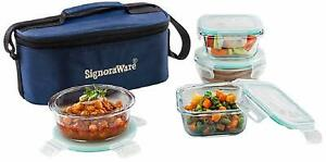 Double Decker Bakeware Safe Glass Lunch Box,4 container,400m+400ml+320ml+320ml