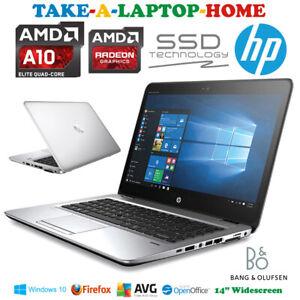 "HP EliteBook Gaming Laptop Radeon GFX Windows10 AMD QuadCore 3.2GHz Fast SSD 14"""