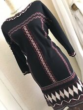 GORGEOUS Ava Aztec SIZE M 12/14 BLACK CLARET BEADING KNITTED JUMPER DRESS