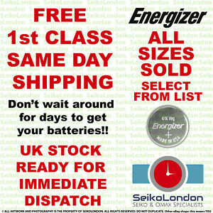 Energizer Silver Oxide Watch Battery 1.55v ALL SIZES OF WATCH BATTERIES - FAST!!