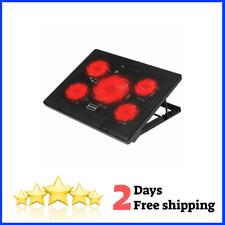 "Laptop Cooling Pad 5 Quiet Fans LED Lights 2 USB 2.0 Mounts Laptop Stand 12""-17"""