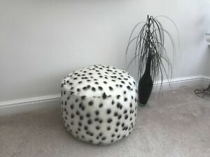 Black & White Dalmatian Faux Fur Pouffee / Footstool Made in the UK