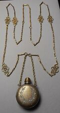 """Necklace - Antique Chatelaine Style Perfume Flacon on Long 50"""" Link Chain"""