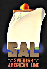 Art Ad Swedish American Line  Cruise Ship Travel   Deco Poster Print