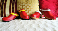 Wooden Clogs Red Black Yellow/Red White Shoes Sizes Unisex classic Swedish style