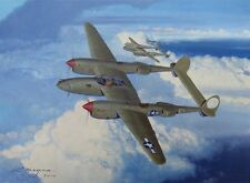 ORIGINAL WW2 MILITARY AVIATION ART PAINTING P-38 LIGHTNING FIGHTER GROUP WWII