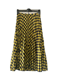 ASOS, Gingham Pleated Midi Skirt, Blue & Yellow, Size 10/38