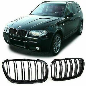 BMW E83 X3 LCI 07-10 front gloss black kidney grilles grills double twin spoke