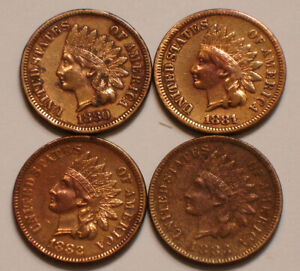 1880, 1881, 1882 & 1883 Indian Head Cents