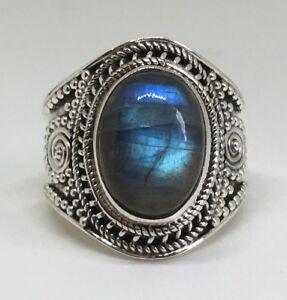 Stunning Labradorite 925 Stamped Sterling Silver Ladies Big Oval Ring Jewellery