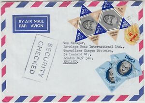 TONGA 1978 multi franked cover to LONDON with *SECURITY CHECKED* marking