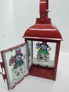 Christmas Candle Holder Retro Moroccan Lantern Tea Light Metal Glass Snowmen
