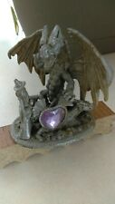 Wizard With Dragons and Heart Gem. Pewter with glittery wings.