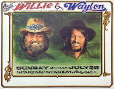 Willie Nelson Waylon Jennings 1982 MINT vintage concert poster orig heavy stock