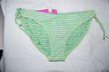 Monsoon Womens Green Gold Lurex Stripe Side Tie Bikini Bottoms Size 16