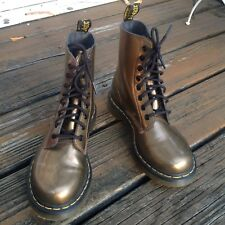 Dr Martens Docs Gold Bronze Glossy Combat Boots Womens 7 UK 5 EUR 38 1460 Shoes