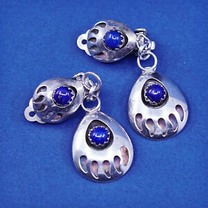 sterling silver handmade earrings, 925 clip on bear paw earrings with lapis