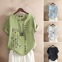 ZANZEA 8-24 Women Summer Printed Floral Tee Shirt Cotton Top Short Sleeve Blouse