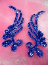 0182 Sequin Beaded Appliques Denim Mirror Pair Dance Patch 6""