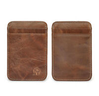 Men's Leather Money Slim Purse Wallet ID Credit Card Holder Small Case Brown