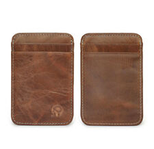 Genuine Brown Leather Mens Small ID Credit Card Wallet Holder Slim Pocket Case