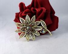 Vintage Lisner Amber AB Rhinestone Flower    Pin Brooch CAT RESCUE