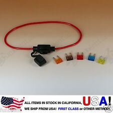 ATM APM Mini Blade Inline 16AWG Fuse Holder (Water Proof) + 5A 7.5A 10A 15A 20A