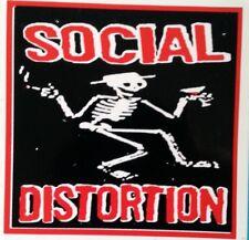 SOCIAL DISTORTION rare 4 x 4 inch vinyl screen printed sticker / decal PUNK