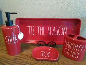 RAE DUNN Christmas Bathroom Accessories SET OF 4 ~ Magenta ~ NEW!