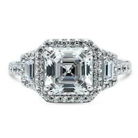 BERRICLE Sterling Silver Asscher Cut CZ Halo Art Deco Engagement Ring 3.75 CTW
