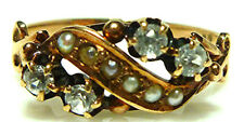 ANTIQUE VICTORIAN 10K YELLOW GOLD SEED PEARL MINE CUT DIAMOND RING BAND SIZE 5.5