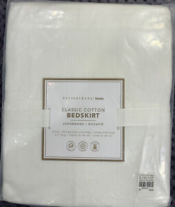 """Pottery Barn Teen Classic Cotton Bed Skirt, Twin XL, White, 18"""" Drop"""