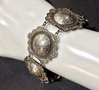 """Vintage Sterling Silver Mayan Calander Dome Linked Bracelet- 7.5"""""""