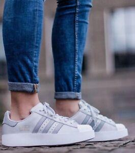 adidas Originals Women's Superstar Bold Platform Solid Mid Gray White Size 8.5