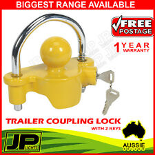 TRAILER COUPLING HITCH  LOCK UNIVERSAL TOW BALL 2 KEYS CARAVAN  ANTI THEFT UTE