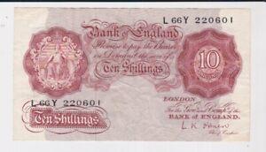 BANK OF ENGLAND 10/- TEN SHILLINGS BANKNOTE FAIR CONDITION O'BRIEN L66Y 220601