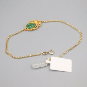 New Pure 18K Yellow Gold Rolo Chain with 10mm Grade A Leaf Bracelet