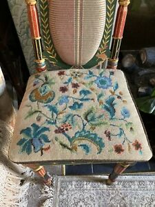 vintage needlepoint cushion Tapestry Floral Seat Pad