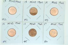 Canada 1 Cent Penny Collection - 1964 Uncirculated Business Strike Pennies BU