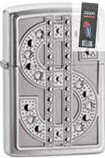 Zippo 20904 bling emblem chrome Lighter + FLINT PACK
