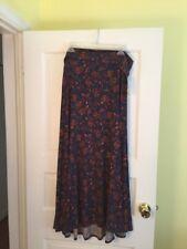Lularoe Long Maxi Skirt Sz 3XL Blue/Orange Floral NWT