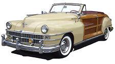 Chrysler 1947 Town & Country convertible canvas art print  - tan
