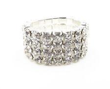 New Sparkling 4 Row Silver Austrian Crystal Rhinestone Stretch Ring #R1237