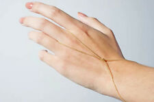 Infinite Charm Knotted Slave Chain Finger Ring Bracelet Hand Harness Gold Plated