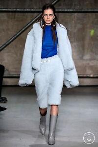 MARNI Sky Blue Twill Alpaca Mohair Fur Skirt Size it 40 UK 8 WOW New Runway
